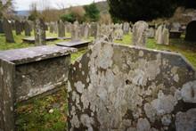 Old Lichen Covered Grave Stone...