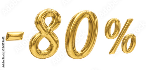 Fotografia, Obraz 80% discount sale promotion off gold ballons number 3d rendered isolated on white background