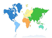 World Map With Antarctica. Seven Continents. Each Continent In Different Color. Flat Design. Atlas. Wallpaper