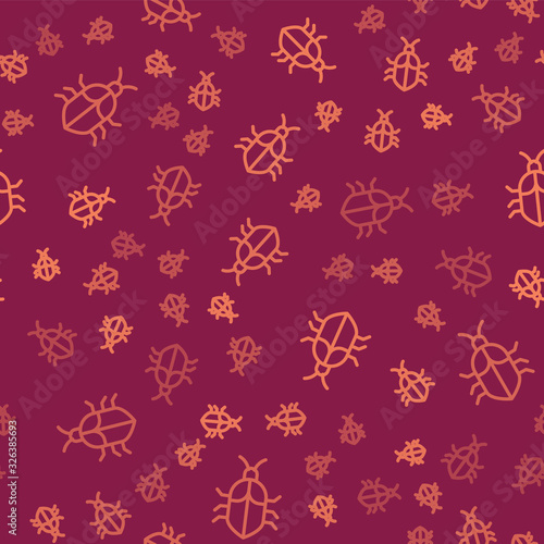 Brown line System bug concept icon isolated seamless pattern on red background Poster Mural XXL