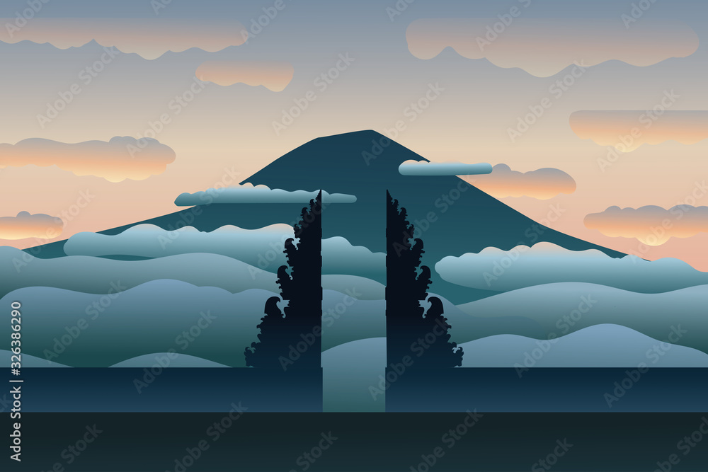 Fototapeta Famous temple in Bali. Lempuyang temple and mountain in clouds,  tranquil moment of peace in sunrise or sunset. Gate of the heaven. Modern hand drawn vector illustration, flat style