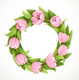 Fototapeta Tulipany - Wreath of pink spring tulip flowers isolated on white background