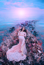 Fairy Princess Sleeping Beauty In Magical Boat Decorated With White Red Flowers Tree Branches. Trail Of Leaves Water. Long Flowing Hair Brunette. Pink Long Dress. Backdrop Bright Sky Sunset Sea Waves