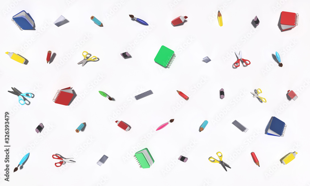 Fototapeta Background with different school related objects isolated