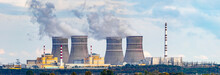 Nuclear Power Plant Panorama With Two RBMK Type Reactors, Same As Chernobyl Type, And Cooling Towers In High Resolution. Legacy Real Nuclear Operating Power Plant Photo.