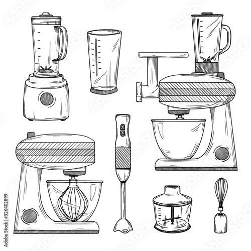 Photo Large set of various blenders and kitchen robot. Vector