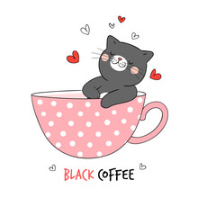 Draw Black Cat Sleeping In Cup Of Coffee.