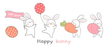 Draw Rabbit With Egg And Carro...