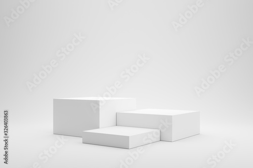 Fototapeta Empty podium or pedestal display on white background with box stand concept