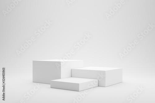 Fotografia, Obraz Empty podium or pedestal display on white background with box stand concept