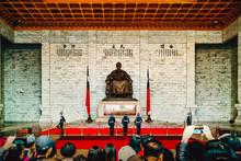 Guard Present Arms At Chiang Kai Shek Memorial Hall In Taipei, Taiwan