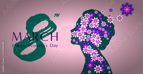 Fototapeta March 8 happy international women's day holiday illustration