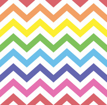 Rainbow Seamless Zigzag Pattern, Vector Illustration. Chevron Zigzag Pattern With Colorful Lines. Kids Rainbow Background