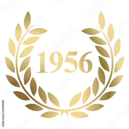 Year 1956 gold laurel wreath vector isolated on a white background Wallpaper Mural