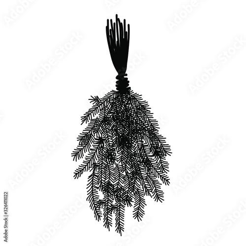 Doodle black fir bath broom to kick on the back. Sauna bathhouse equipment. Healthy procedures, line art. Vector stock illustration.