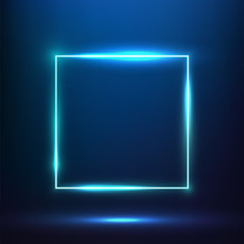Glowing Blue Square Neon Effect Banner. Vibrant Square Neon Frame Vector.