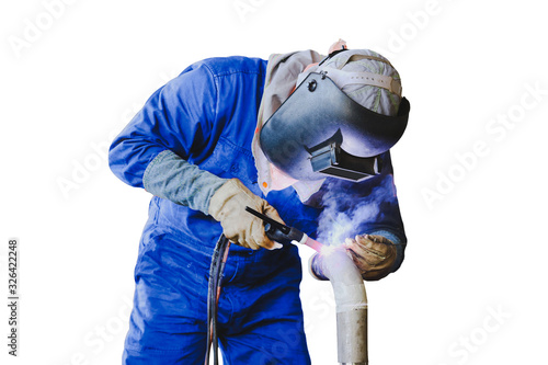 welder is welding process by Tig gas argon isolated on white background Canvas Print
