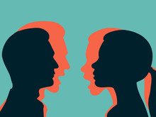 Woman And Man Holding Back Their Anger. The Concept Of Hidden Aggression. Vector Illustration