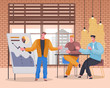 Presenter explaining details of new project to colleagues. Meeting or seminar for newcomers. Company rally with presentation, brainstorming and planning strategy. Personages vector in flat style