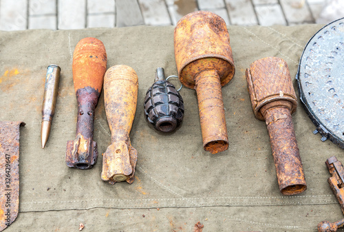 Old, rusty ammunition of the Soviet army Canvas Print
