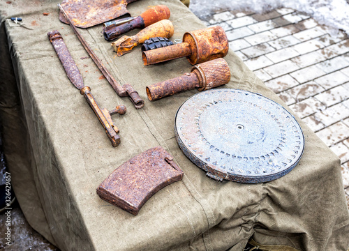 Vászonkép Old, rusty ammunition of the Soviet army