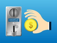 Hand Holder Coin And Insert Into Coin Acceptor Vending Machine