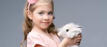 Little Pretty Girl Holding Fur...