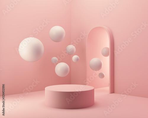 Obraz abstract background for product presentation, podium display, minimal pastel scene, 3d rendering. - fototapety do salonu
