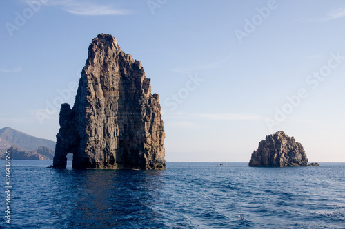 rock stacks outcropping from the sea near the island of Filicudi, Aeolian Island Wallpaper Mural