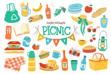 Set For A Picnic Day. Hand Dra...