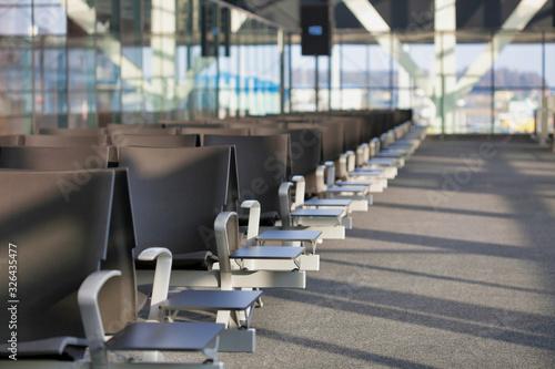 Obraz Photo of empty boarding gate in airport - fototapety do salonu