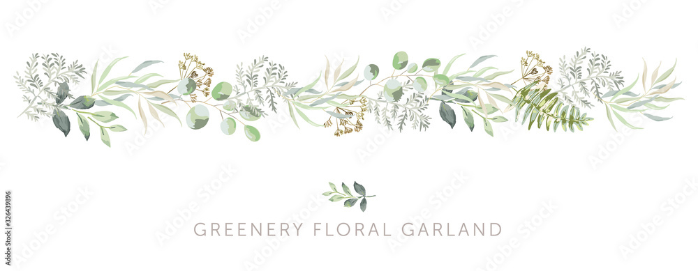 Fototapeta Greenery border of green leaves, fern, white background. Wedding invitation banner. Vector illustration. Floral garland arrangement. Design template greeting card