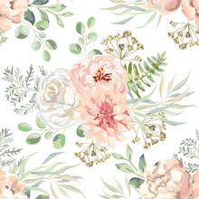 Pink Dahlia, Rose, Peony Flowe...