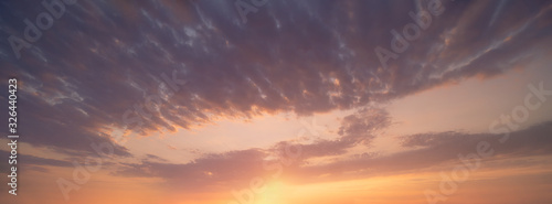 panorama of cloudscape at sunset with beautiful clouds on sky Wallpaper Mural