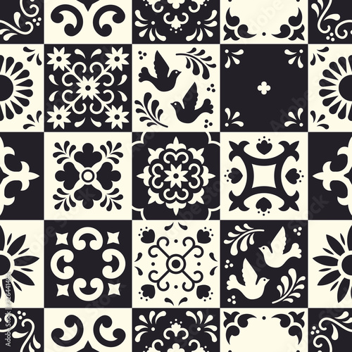 Mexican talavera seamless pattern Fototapeta