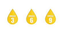 Yellow Drop Set Icons Omega 3 ...