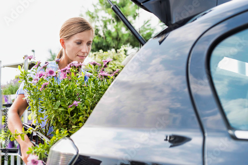 Obraz Portrait of mature female gardener putting flowers on car trunk for delivery - fototapety do salonu