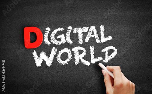 Photo Digital world text on blackboard, technology business concept background