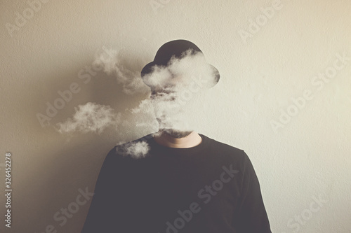 surreal man head in the clouds, abstract concept Fototapete