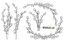 Set With Outline Willow Twigs ...