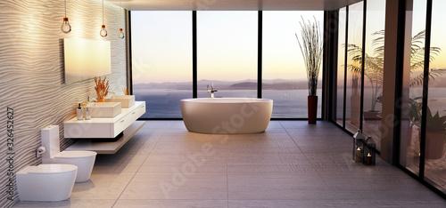 Obraz Luxury high key bathroom render with sea view. - fototapety do salonu