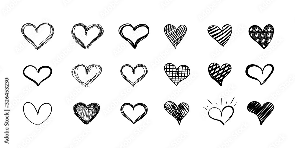 Fototapeta Vector set of hand drawn hearts isolated on white background, black scribble lines.