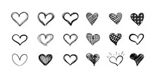 Vector Set Of Hand Drawn Heart...