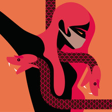 Woman With A Mask Surrounded By A Snake