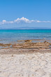 Panoramic view of beach of town of Afytos, Kassandra, Chalkidiki, Central Macedonia, Greece. Beach on the Ionian Sea