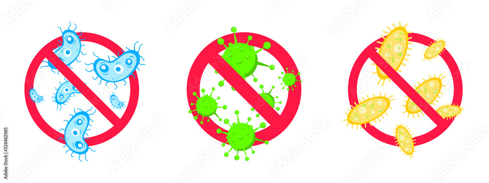 Fototapeta 3 stop viruses and bad bacterias or germs prohobition sign. Big viruses or gems in the red stop defence circle flat style design vector illustration isolated on white background.