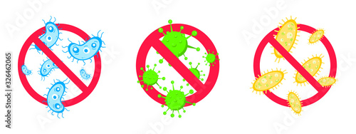 Obraz 3 stop viruses and bad bacterias or germs prohobition sign. Big viruses or gems in the red stop defence circle flat style design vector illustration isolated on white background. - fototapety do salonu