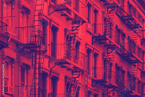 Colorful row of buildings in Greenwich Village New York City NYC