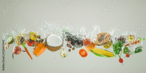 fresh fruit and vegetables fall into the water causing large splashes.