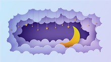 Night Sky Clouds Rectangular Frame With Stars On Rope And Moon In Paper Cut Style. Cut Out 3d Background With Crescent And Cloudy Landscape Papercut Art. Vector Card For Wish Good Night Sweet Dreams